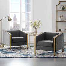 Visualize Armchair Performance Velvet Set of 2 in Gray