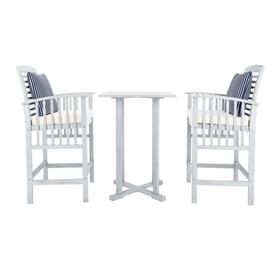 Pate 3 PC Bar 39.8-INCH H Table Bistro Set - Grey / Beige / Navy