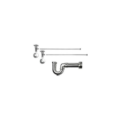 """Product Image - Lavatory Supply Kit w/ Massachusetts P-Trap - Angle - Cross Handle - 1/2"""" Compression (5/8"""" O.D.) Inlet x 3/8"""" O.D. Compression Outlet - Polished Copper"""
