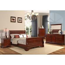 VERSAILLES QUEEN BEDROOM SET - BORDEAUX - QUEEN SLEIGH BED, DRESSER & MIRROR