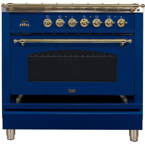 Nostalgie 36 Inch Dual Fuel Liquid Propane Freestanding Range in Blue with Brass Trim