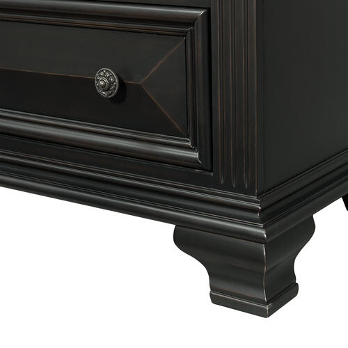 Calloway 2-Drawer Nightstand in Antique Black
