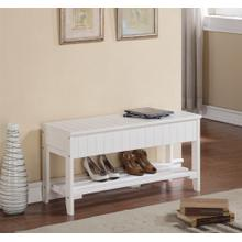 Product Image - Rennes White Finish Quality Solid Wood Shoe Bench With Storage