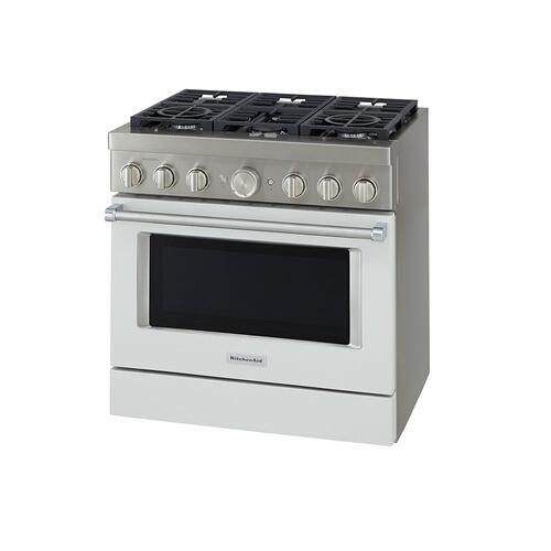 KitchenAid® 36'' Smart Commercial-Style Dual Fuel Range with 6 Burners - Milkshake