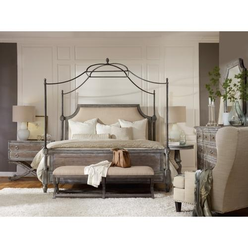 True Vintage King Fabric Upholstered Canopy Bed