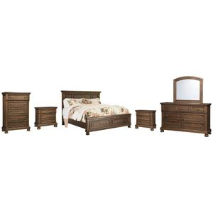 California King Panel Bed With 2 Storage Drawers With Mirrored Dresser, Chest and 2 Nightstands