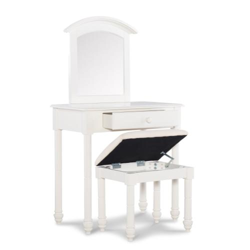 1-drawer Vanity With Upholstered Seat Stool, White