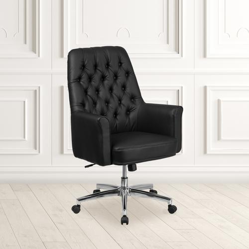 Gallery - Mid-Back Traditional Tufted Black LeatherSoft Executive Swivel Office Chair with Arms
