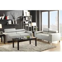 Agnes 2pcs Loveseat & Sofa Set, Grey-bonded-leather