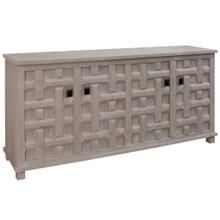 SAND BLASTED LIGHT GRAY  35ht X 71w X 17d  4 Door Sideboard with Lattice Carved Door Panels & Blac