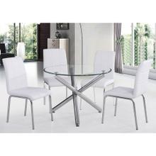 """Solara II 5pc Dining Set, 40"""" Dia., Chrome/White"""