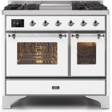 Majestic II 40 Inch Dual Fuel Natural Gas Freestanding Range in White with Chrome Trim