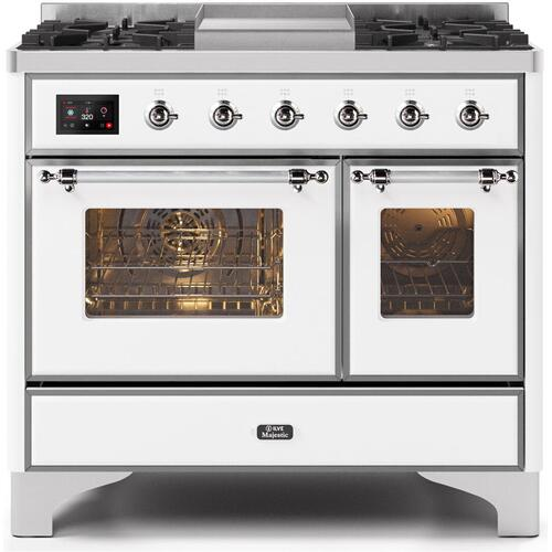 Product Image - Majestic II 40 Inch Dual Fuel Natural Gas Freestanding Range in White with Chrome Trim