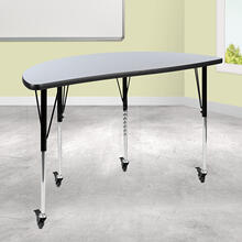 "Mobile 47.5"" Half Circle Wave Collaborative Grey Thermal Laminate Activity Table - Standard Height Adjustable Legs"