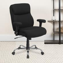 View Product - HERCULES Series Big & Tall 400 lb. Rated Black Fabric Ergonomic Task Office Chair with Line Stitching and Adjustable Arms