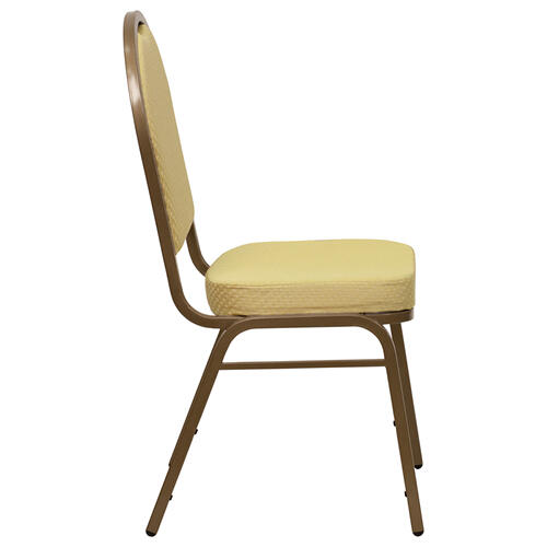 HERCULES Series Dome Back Stacking Banquet Chair with Beige Patterned Fabric and Gold Frame Finish
