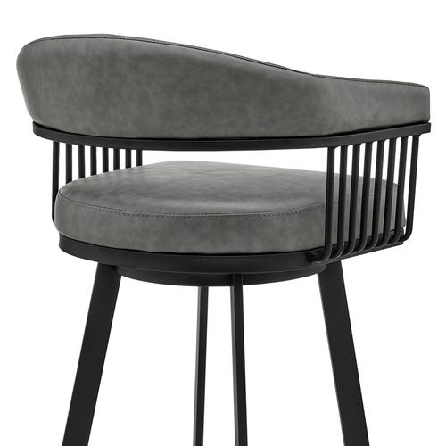 """Armen Living - Chelsea 30"""" Bar Height Swivel Bar Stool in Black Finish and Gray Faux Leather"""