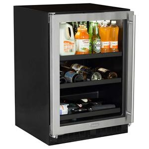 Marvel24-In Built-In Beverage Center With Split Convertible Shelves with Door Style - Stainless Steel Frame Glass, Door Swing - Left