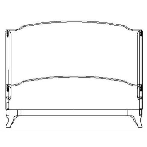 US Cali King Louis XV bed (Grey weathered/Velvet fuchsia)