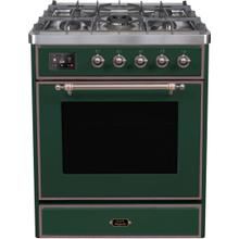 Majestic II 30 Inch Dual Fuel Liquid Propane Freestanding Range in Emerald Green with Bronze Trim