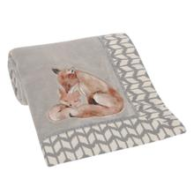 Painted Forest Fox Coral Fleece Baby Blanket - Gray