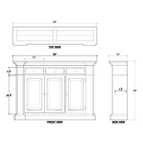 Roosevelt 3 Drawer Narrow Sideboard
