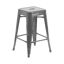 Tolix Style Backless Metal Industrial Stacking Counter Height Stool - Reproduction - Black, Set-of-1