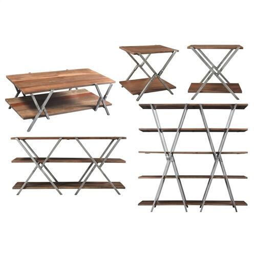 Riverside - Ryder - Double X Bookcase Shelves - Rustic Clove Finish