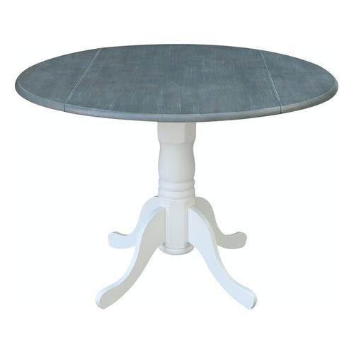 Round Dropleaf Pedestal Table in White & Grey
