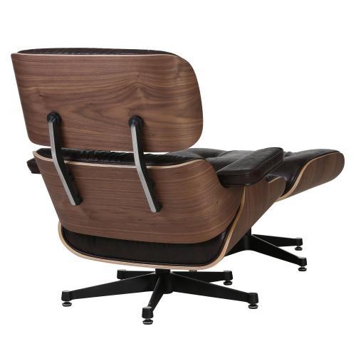 Grayson PU Lounge Arm Chair and Ottoman Walnut Veneer Frame, Distressed Java