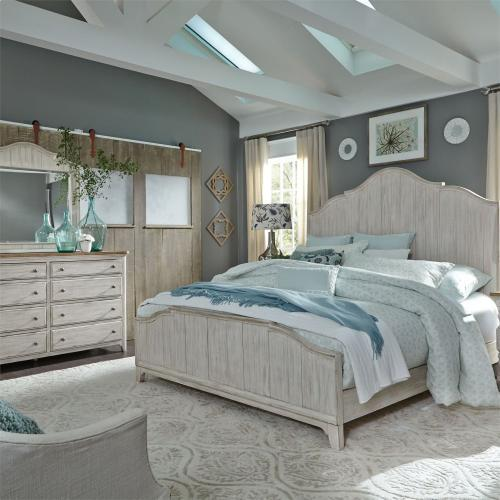 King California Panel Bed, Dresser & Mirror