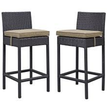 Lift Bar Stool Outdoor Patio Set of 2 in Espresso Mocha