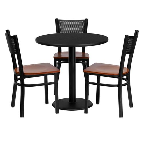 Flash Furniture - 30'' Round Black Laminate Table Set with 3 Grid Back Metal Chairs - Cherry Wood Seat