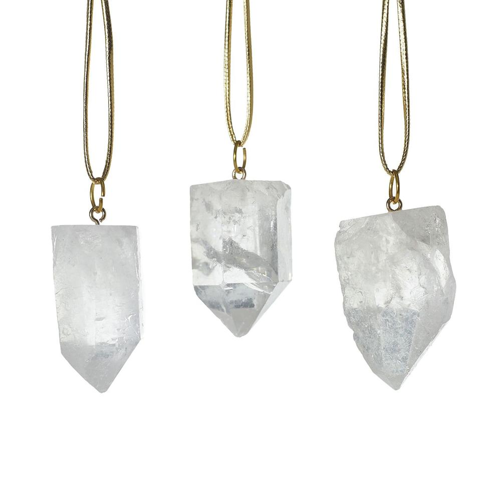 """See Details - Stone Ornaments (Shape:Quartz, Size:1.5"""" S/3, Color:Clear)"""