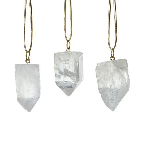 """Accent Decor - Stone Ornaments (Shape:Quartz, Size:1.5"""" S/3, Color:Clear)"""