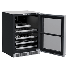 24-In Professional Built-In Dual Zone Wine And Beverage Center with Door Style - Stainless Steel Frame Glass