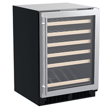 Product Image - 24-In Built-In High-Efficiency Single Zone Wine Refrigerator With Display Rack with Door Style - Stainless Steel Frame Glass