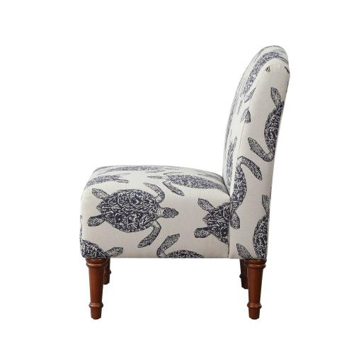 Upholstered Fabric Accent Chair, Cream and Navy