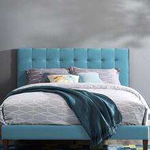 Paisley Tufted Twin Upholstered Performance Velvet Headboard in Sea Blue