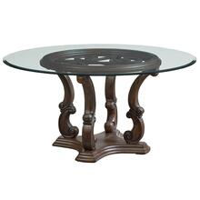 "Parliment 60"" Round Table with Glass Top, Brown"