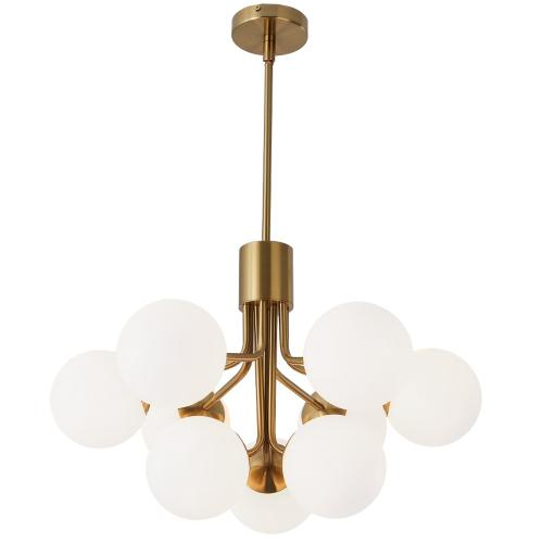Product Image - 9lt Chandelier, Agb Finish W/ Opal Glass