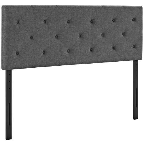 Terisa Queen Upholstered Fabric Headboard in Gray