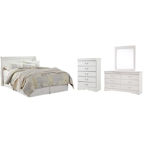 Ashley - Queen Sleigh Headboard With Mirrored Dresser and Chest