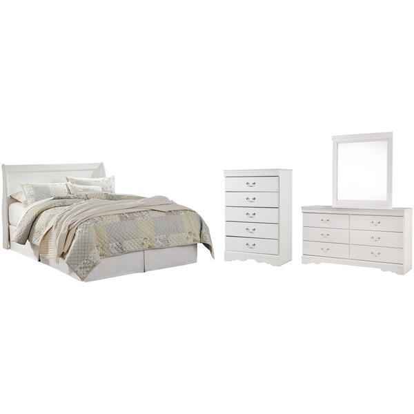 See Details - Queen Sleigh Headboard With Mirrored Dresser and Chest