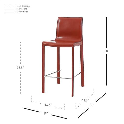 Gervin Recycled Leather Counter Stool, Cordovan