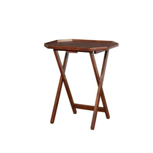 Four Octagonal Tray Tables, Espresso