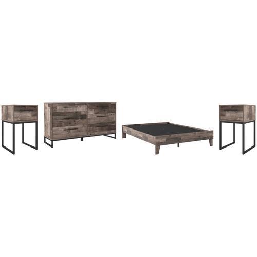 Queen Platform Bed With Dresser and 2 Nightstands