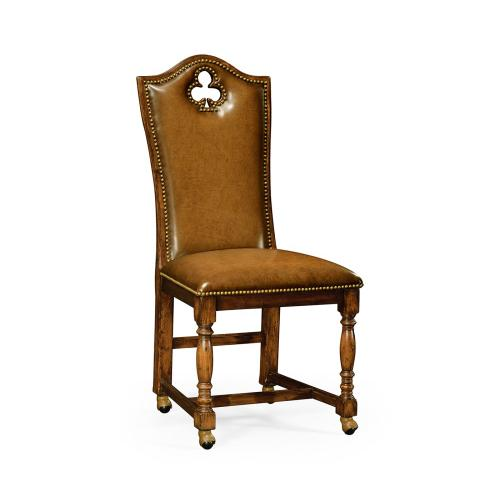 """High back playing card """"Club"""" side chair with medium antique chestnut leather"""