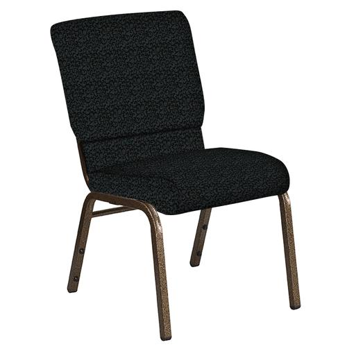 Flash Furniture - 18.5''W Church Chair in Lancaster Pewter Fabric - Gold Vein Frame