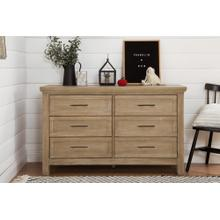 Emory Farmhouse 6-Drawer Dresser in Driftwood Finish